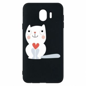 Phone case for Samsung J4 Cat with a big heart - PrintSalon