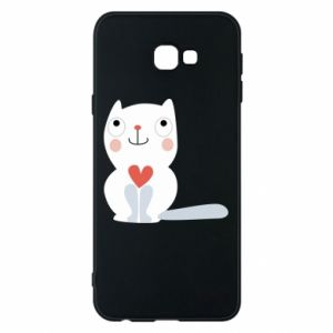 Phone case for Samsung J4 Plus 2018 Cat with a big heart - PrintSalon