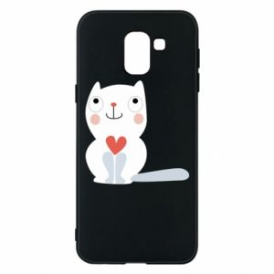 Phone case for Samsung J6 Cat with a big heart - PrintSalon