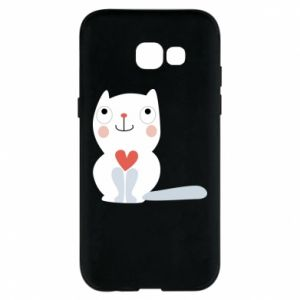 Phone case for Samsung A5 2017 Cat with a big heart - PrintSalon