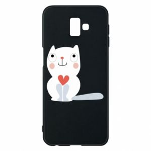 Phone case for Samsung J6 Plus 2018 Cat with a big heart - PrintSalon