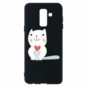 Phone case for Samsung A6+ 2018 Cat with a big heart - PrintSalon