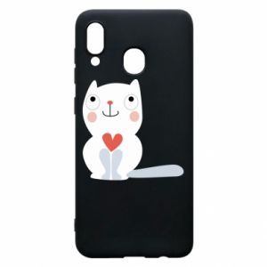 Phone case for Samsung A20 Cat with a big heart - PrintSalon