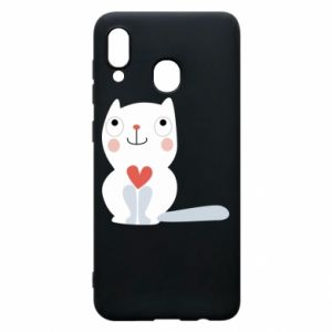 Phone case for Samsung A30 Cat with a big heart - PrintSalon