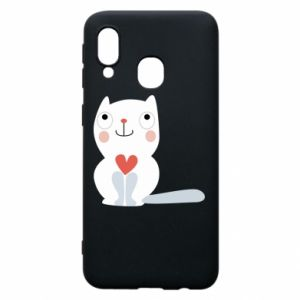 Phone case for Samsung A40 Cat with a big heart - PrintSalon