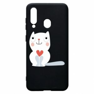 Phone case for Samsung A60 Cat with a big heart - PrintSalon