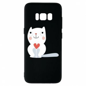Phone case for Samsung S8 Cat with a big heart - PrintSalon