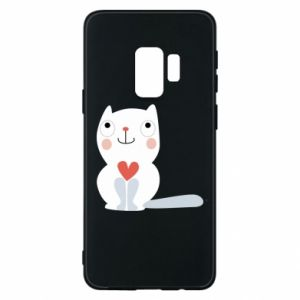 Phone case for Samsung S9 Cat with a big heart - PrintSalon