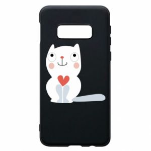 Phone case for Samsung S10e Cat with a big heart - PrintSalon