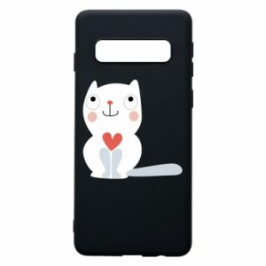 Phone case for Samsung S10 Cat with a big heart - PrintSalon