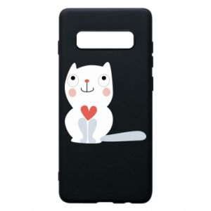 Phone case for Samsung S10+ Cat with a big heart - PrintSalon