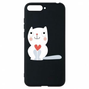 Phone case for Huawei Y6 2018 Cat with a big heart - PrintSalon