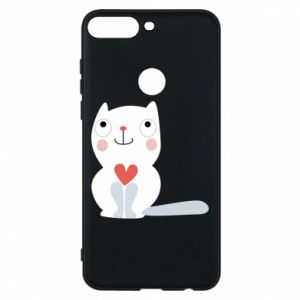 Phone case for Huawei Y7 Prime 2018 Cat with a big heart - PrintSalon
