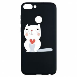 Phone case for Huawei P Smart Cat with a big heart - PrintSalon