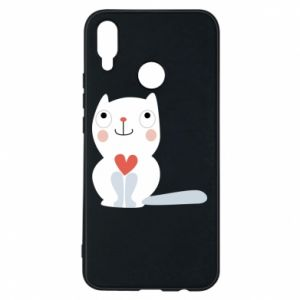 Phone case for Huawei P Smart Plus Cat with a big heart - PrintSalon