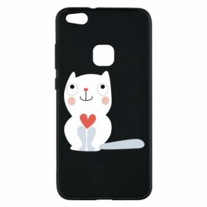 Phone case for Huawei P10 Lite Cat with a big heart - PrintSalon