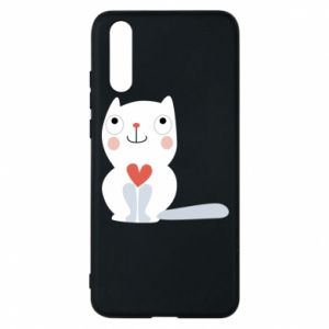 Phone case for Huawei P20 Cat with a big heart - PrintSalon
