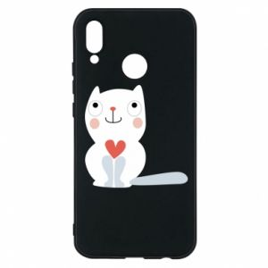 Phone case for Huawei P20 Lite Cat with a big heart - PrintSalon