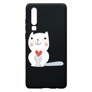 Phone case for Huawei P30 Cat with a big heart - PrintSalon