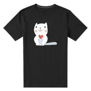 Men's premium t-shirt Cat with a big heart