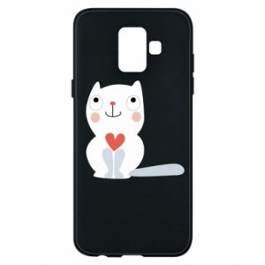Phone case for Samsung A6 2018 Cat with a big heart - PrintSalon