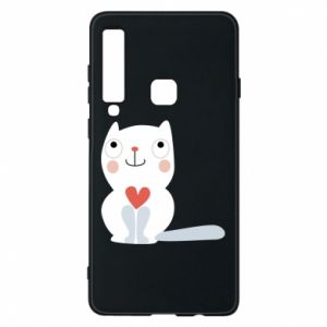 Phone case for Samsung A9 2018 Cat with a big heart - PrintSalon