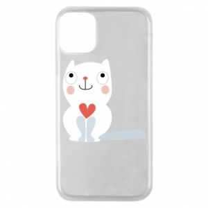Phone case for iPhone 11 Pro Cat with a big heart - PrintSalon