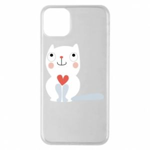 Phone case for iPhone 11 Pro Max Cat with a big heart - PrintSalon