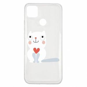 Xiaomi Redmi 9c Case Cat with a big heart