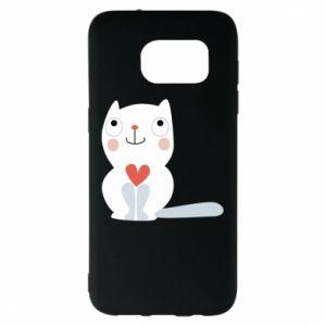Etui na Samsung S7 EDGE Cat with a big heart