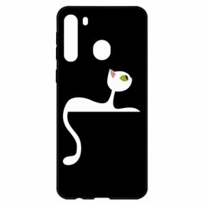 Etui na Samsung A21 Cat with green eyes resting