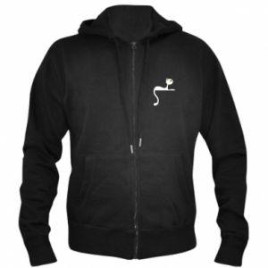 Men's zip up hoodie Cat with green eyes resting - PrintSalon