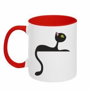 Two-toned mug Cat with green eyes resting - PrintSalon