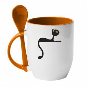 Mug with ceramic spoon Cat with green eyes resting - PrintSalon