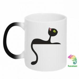 Chameleon mugs Cat with green eyes resting - PrintSalon