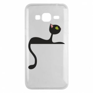 Phone case for Samsung J3 2016 Cat with green eyes resting - PrintSalon