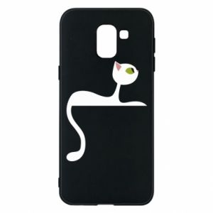 Phone case for Samsung J6 Cat with green eyes resting - PrintSalon