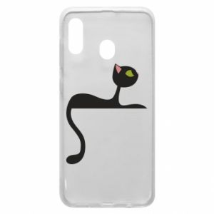 Phone case for Samsung A20 Cat with green eyes resting - PrintSalon