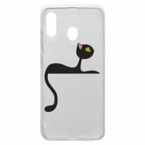 Phone case for Samsung A30 Cat with green eyes resting - PrintSalon