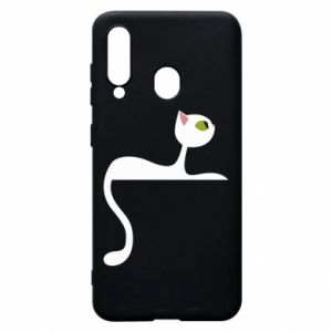Phone case for Samsung A60 Cat with green eyes resting - PrintSalon