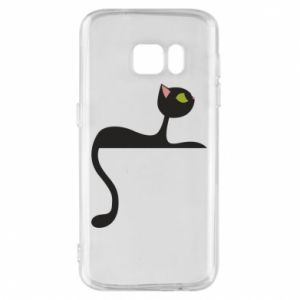 Phone case for Samsung S7 Cat with green eyes resting - PrintSalon