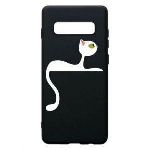 Phone case for Samsung S10+ Cat with green eyes resting - PrintSalon