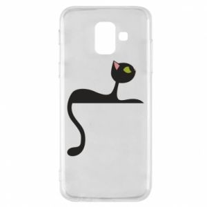 Phone case for Samsung A6 2018 Cat with green eyes resting - PrintSalon