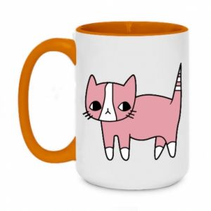 Two-toned mug 450ml Cat with leaves