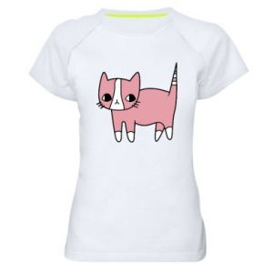 Women's sports t-shirt Cat with leaves