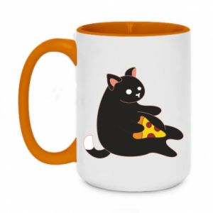 Two-toned mug 450ml Cat with pizza
