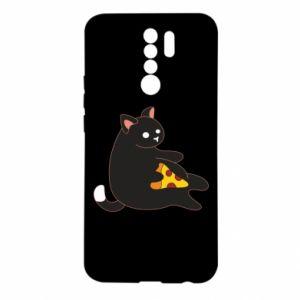 Etui na Xiaomi Redmi 9 Cat with pizza