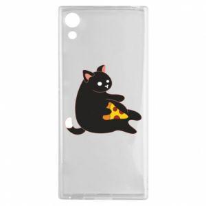 Etui na Sony Xperia XA1 Cat with pizza