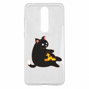 Etui na Nokia 5.1 Plus Cat with pizza