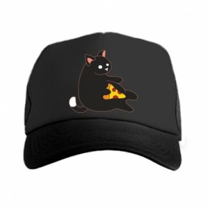 Trucker hat Cat with pizza